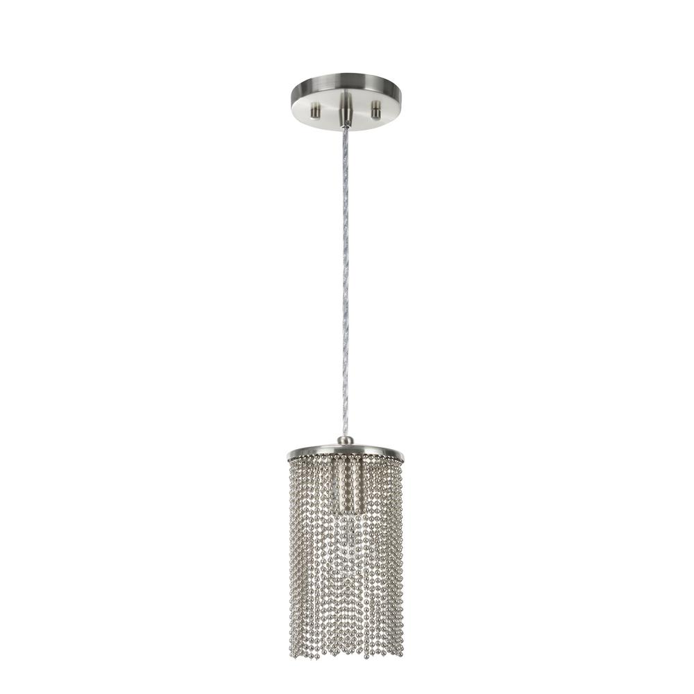 1 Light Brushed Nickel Mini Pendant With Beaded Chain Shade