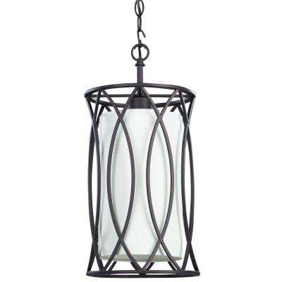 Monica 1-Light Oil Rubbed Bronze Pendant with White Fabric Shade