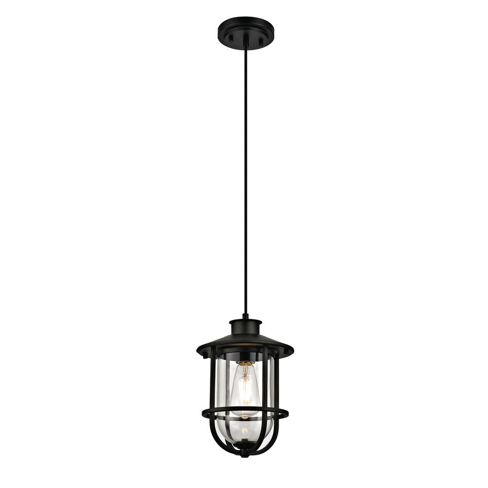 1-Light Nautical Outdoor Pendant, Dark Bronze
