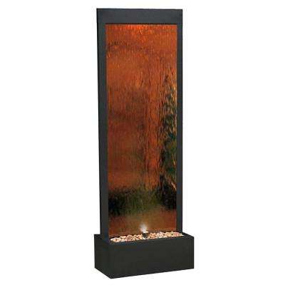 Mirror Water-Fall-Bronze Fountain with Decorative Stones and Light