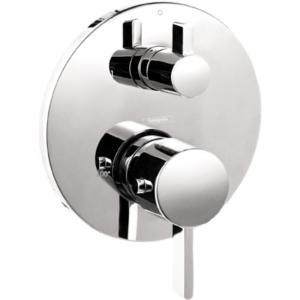 Hansgrohe Metris S 2 Handle Thermostatic Valve Trim Kit With Volume Control In Brushed Nickel Valve Not Included 04230820 The Home Depot