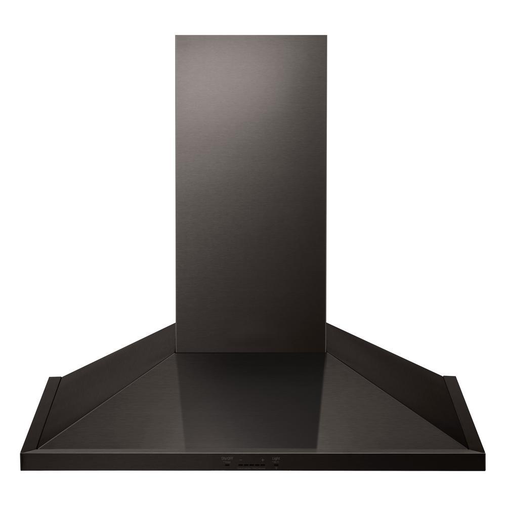 36 in. 600 CFM Indoor Wall Mount Range Hood with Light in Black Stainless Steel