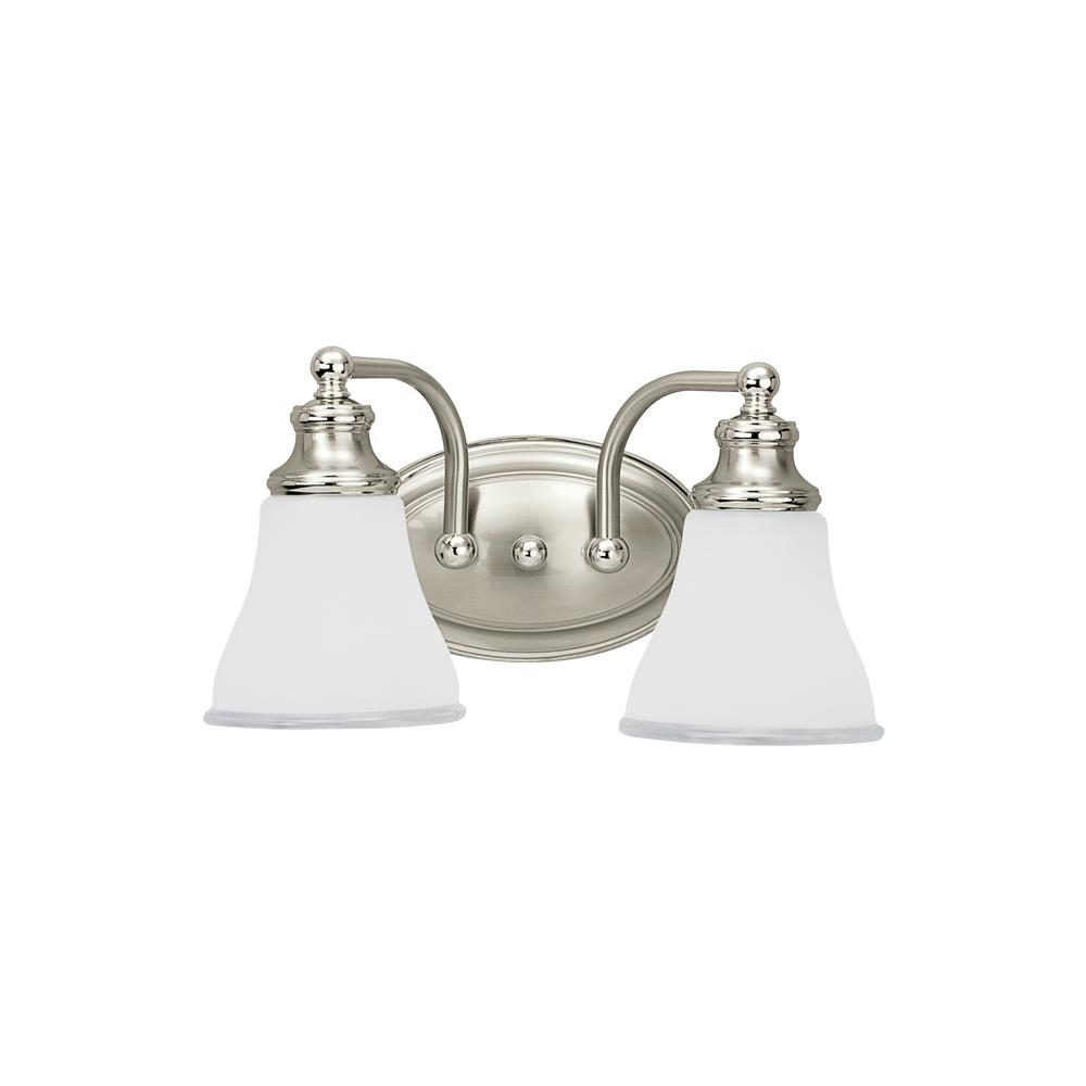 Sea Gull Lighting Alexandria 2-Light Two Tone Nickel Bath Light with LED Bulbs