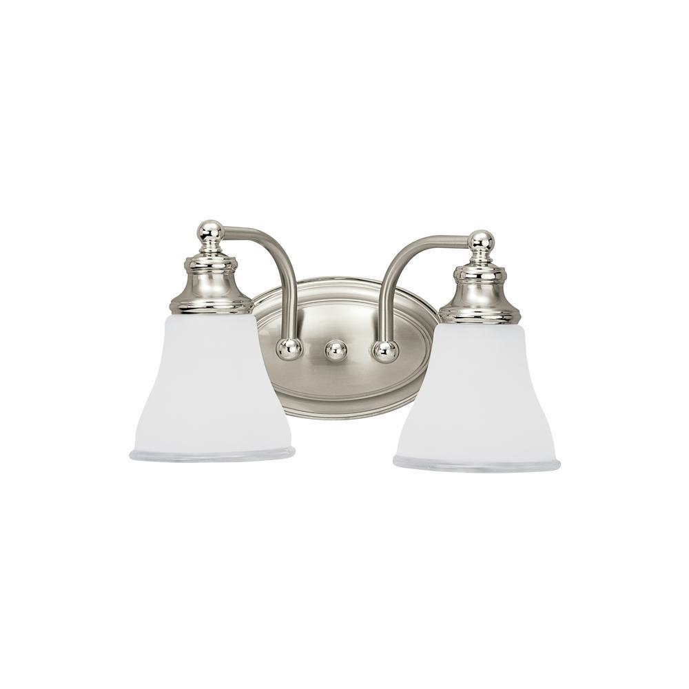 Alexandria 2-Light Two Tone Nickel Bath Light with LED Bulbs