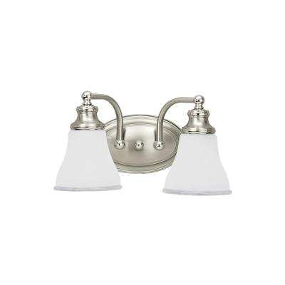 Alexandria 2-Light Two Tone Nickel Bath Light with LED Bulbs