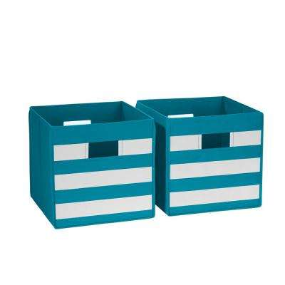 10.5 in x 10 in. Turquoise with White Stripe Folding Storage Bin (2-Pack)