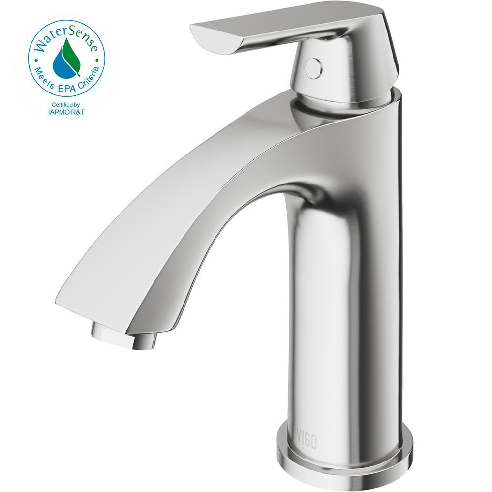 Penela Single Hole 1-Handle Bathroom Faucet in PVD Brushed Nickel