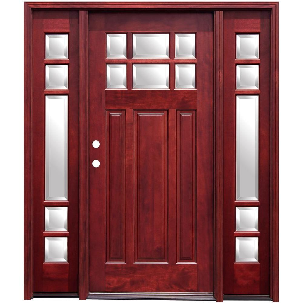 68 in. x 80 in. Craftsman 6 Lite Stained Mahogany Wood