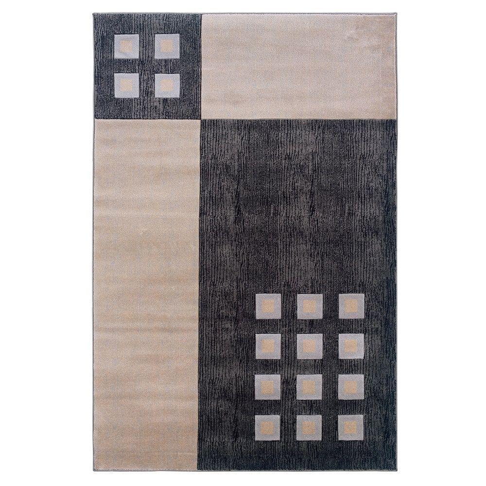Linon Home Decor Milan Collection Black And Ivory 1 Ft 10 In X 2 Ft 10 In Indoor Area Rug