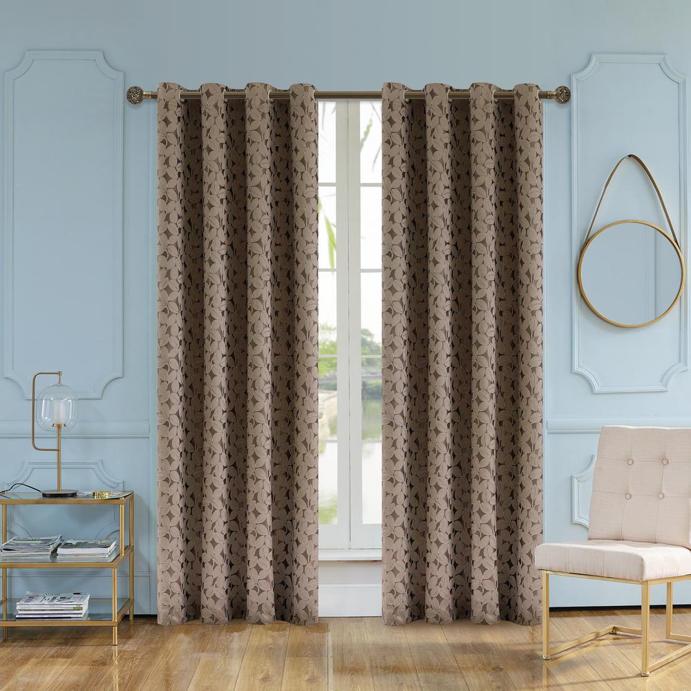 Lyndale Decor Simone 63 in. L x 54 in. W Jacquard Leaf Polyester Curtain in Walnut