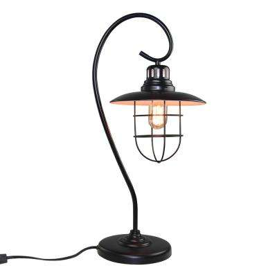 22 in. Black Indoor Table Lamp with Cage Shade