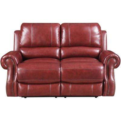 Rustic Wine Double Reclining Console Loveseat