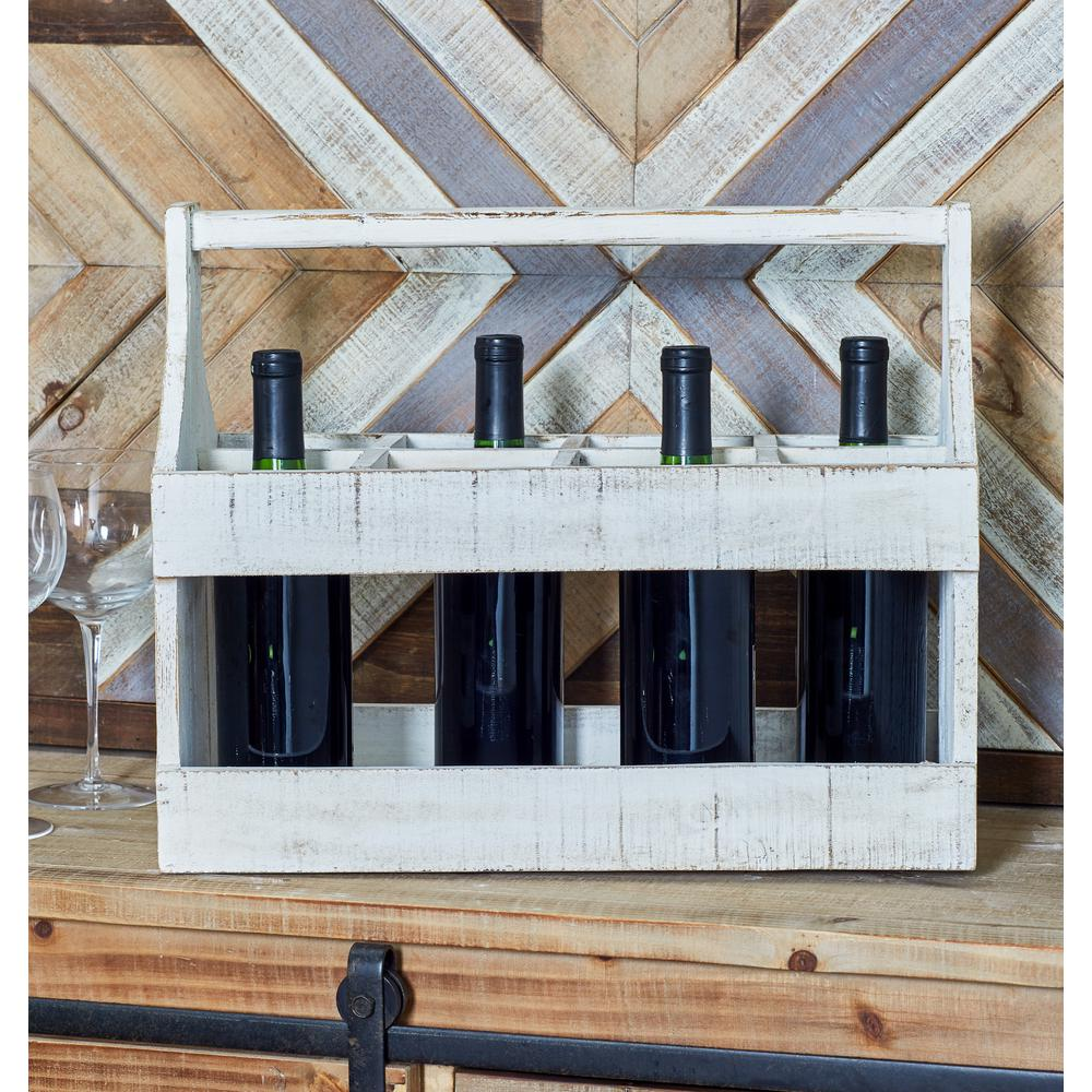 8-Bottle Distressed White Rectangular Wooden Wine Caddy