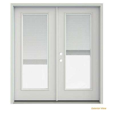 72 in. x 80 in. Primed Steel Right-Hand Inswing Full Lite Glass Stationary/Active Patio Door w/Blinds
