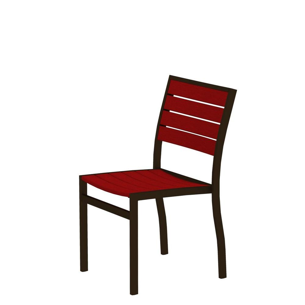 Euro Textured Bronze Patio Dining Side Chair with Sunset Red Slats