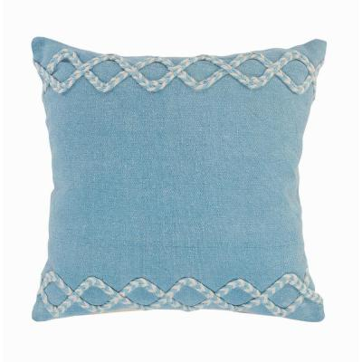 Solid Color Blue / Cream Chevron Edge Cozy Poly-Fill 20 in. x 20 in.Throw Pillow