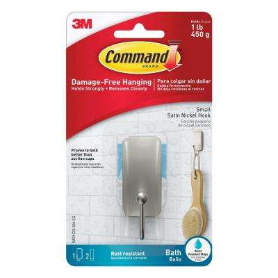 Small Satin Nickel Bath Hook with Water-Resistant Strips (1-Hook) (2-Water Resistant Strips)