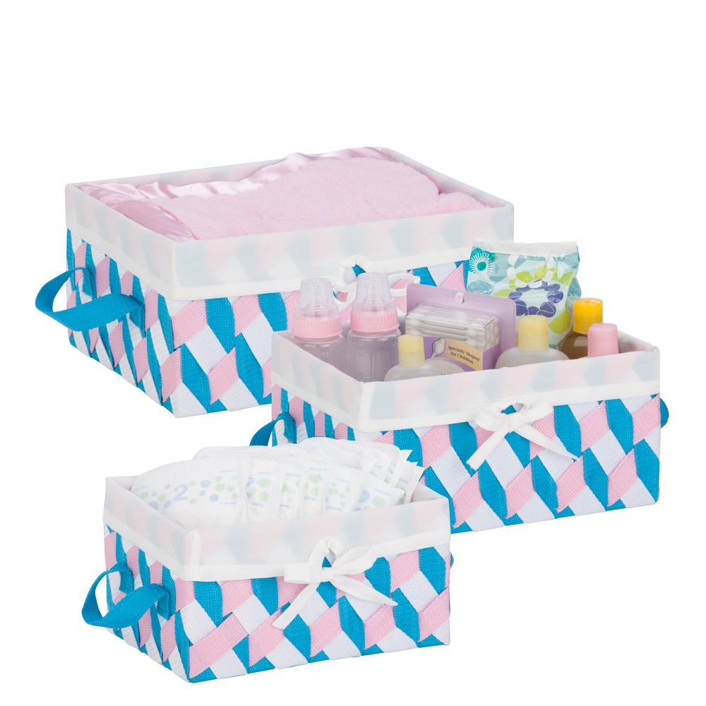 13 in. x 6 in. Pink, Blue and White Nestable PP