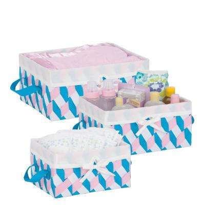 13 in. x 6 in. Pink, Blue and White Nestable PP Weave Storage Baskets (3-Pack)