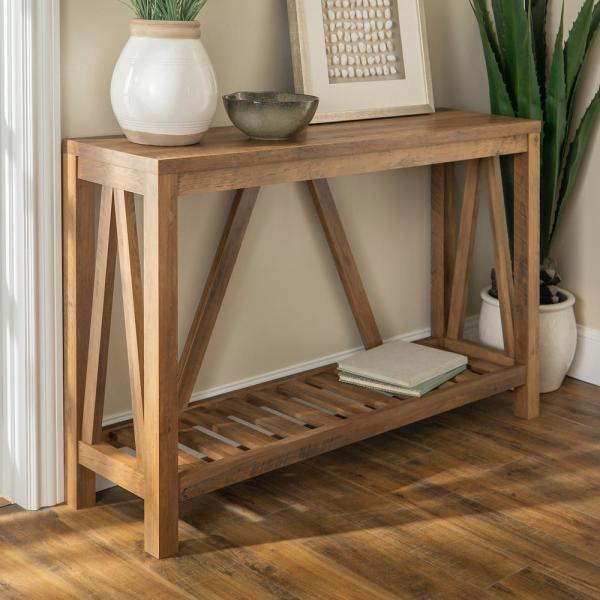 52 in. Rustic Oak Standard Rectangle Wood Console Table with Storage