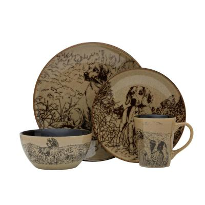 Wilderness Dogs 16-Piece Brown Dinnerware Set (Service for 4)