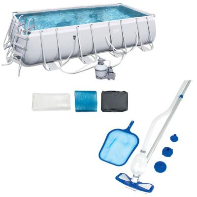18 ft. x 9 ft. Rectangular Frame Above Ground Pool Set Plus Cleaning Kit
