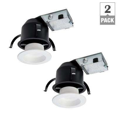 RL 4 in. Ultra Shallow Remodel Ceiling Housing and Dimmable White Integrated LED Recessed Light Kit, T24 Rated (2-Pack)