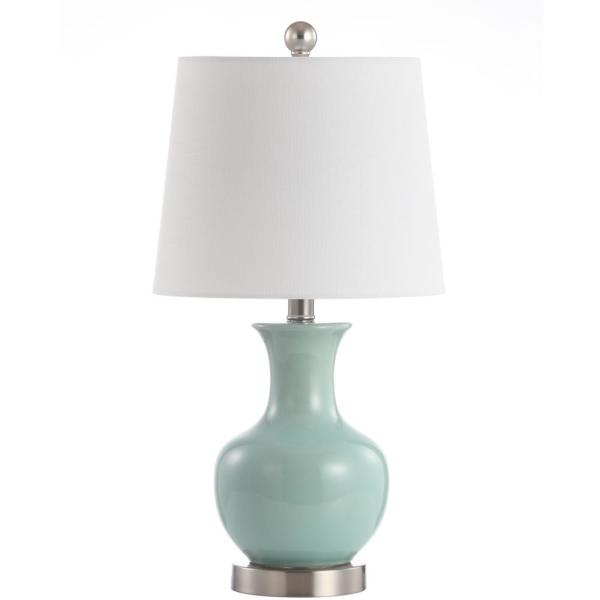 Soren 22 in. Light Blue Gourd Table Lamp wit Off-White Shade
