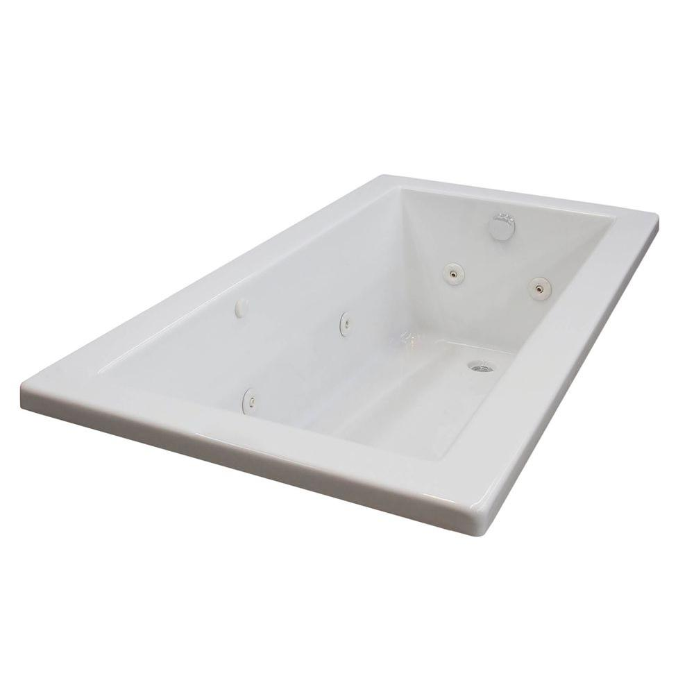 Sapphire 5 ft. Rectangular Drop-in Whirlpool Bathtub in White