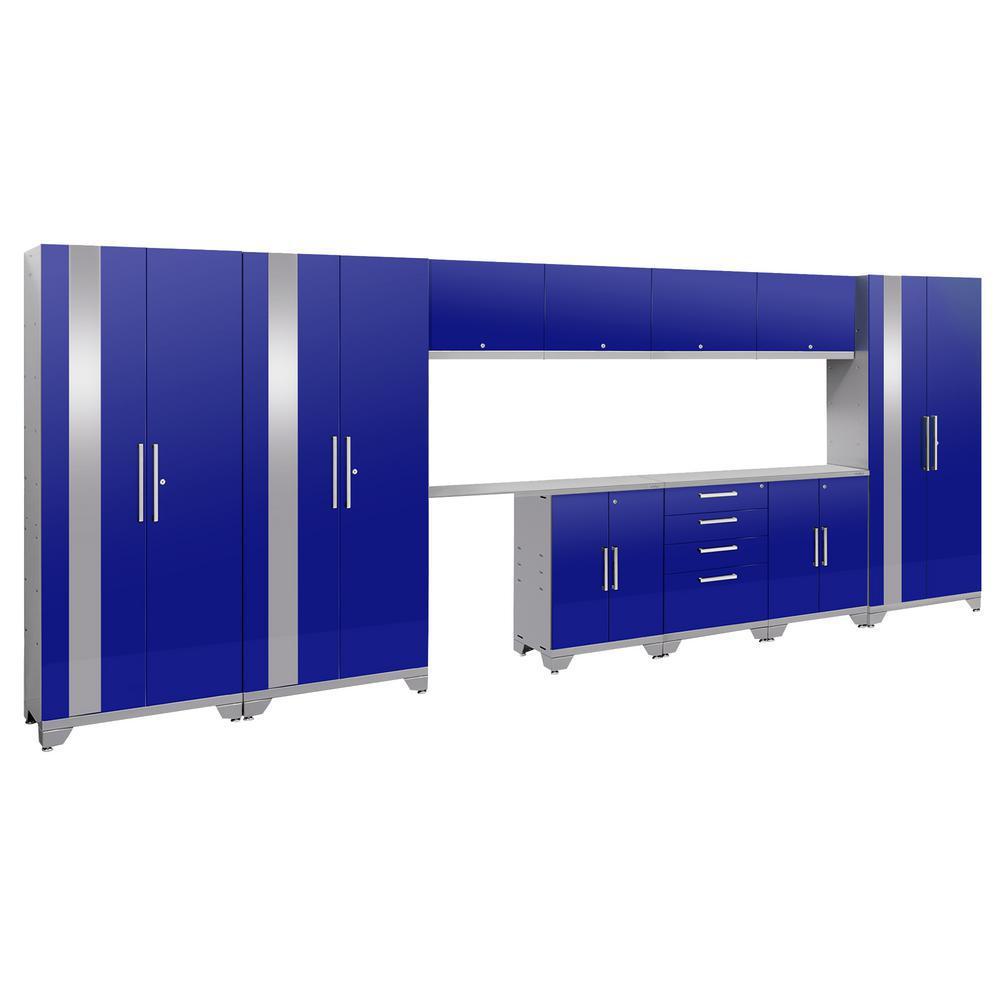 Performance 2.0 72 in. H x 186 in. W x 18 in. D Garage Cabinet Set in Blue (12-Piece)