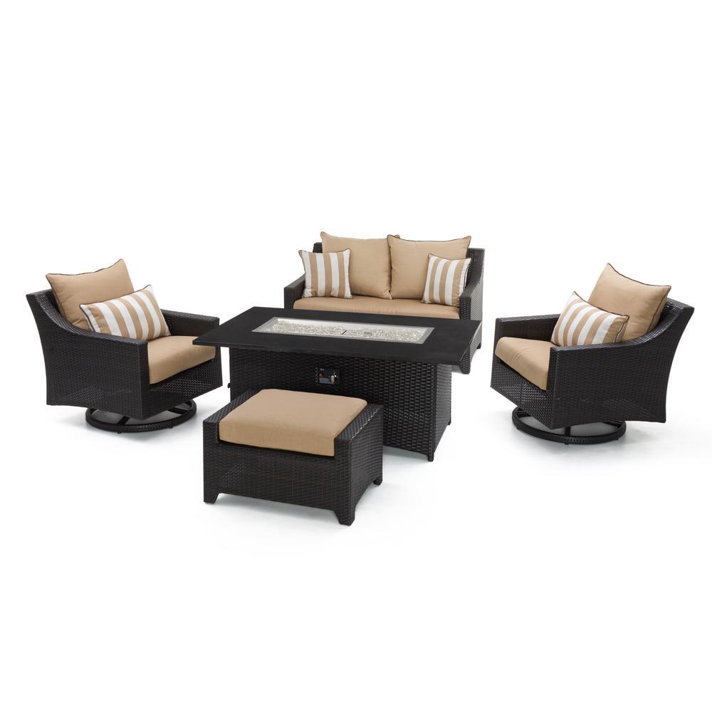 Deco Motion 5-Piece Wicker Patio Fire Pit Conversation Set with Sunbrella Maxim Beige Cushions