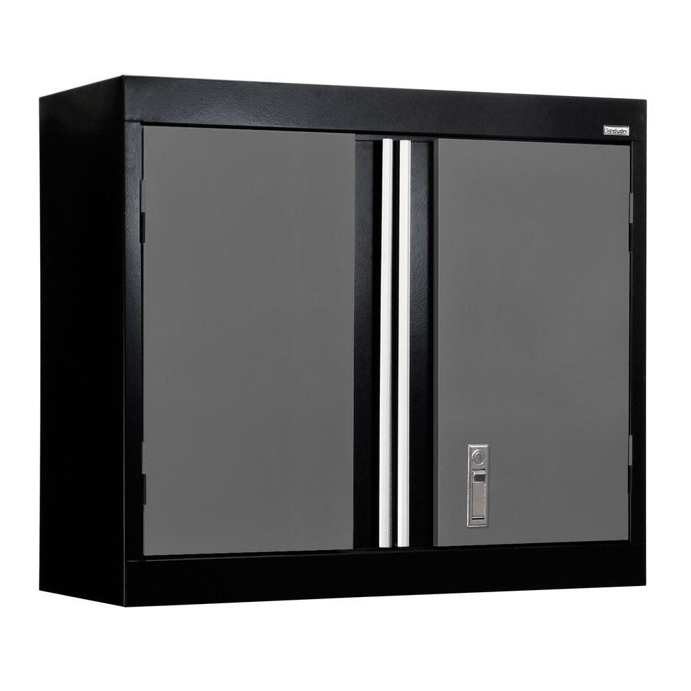 26 in. H x 30 in. W x 12 in. D 1-Shelf Modular Steel Wall Cabinet Full Pull in Black/Charcoal