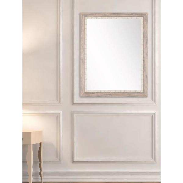 Medium Rectangle White/Blue/Green Hooks Contemporary Mirror (32 in. H x 21.5 in. W)