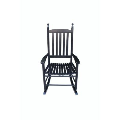 Black Landaff Wood Outdoor Rocking Chair with Gray Cushions