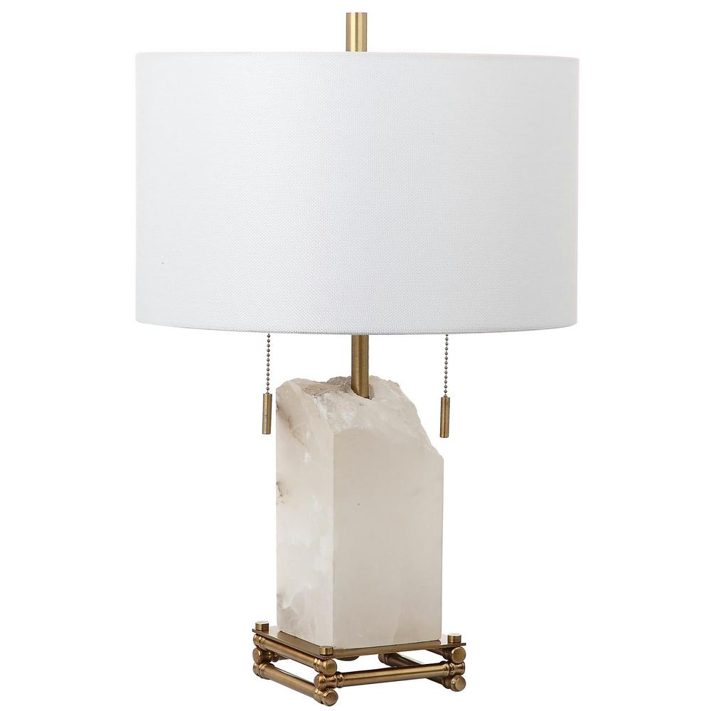 Charming Safavieh Pearl Alabaster 24 In. White/Gold Table Lamp