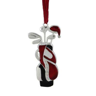 red and white with clear european crystals silver plated golf bag christmas tree - Silver Plated Christmas Tree Decorations