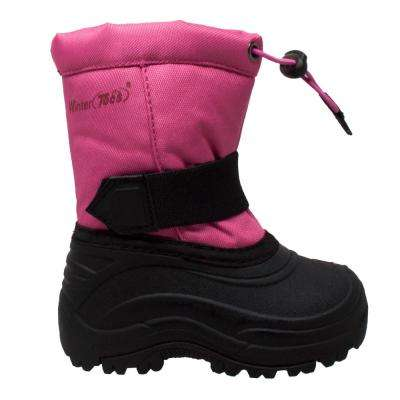 Girls Size 2 Black/Pink Nylon/Rubber Winter Boots