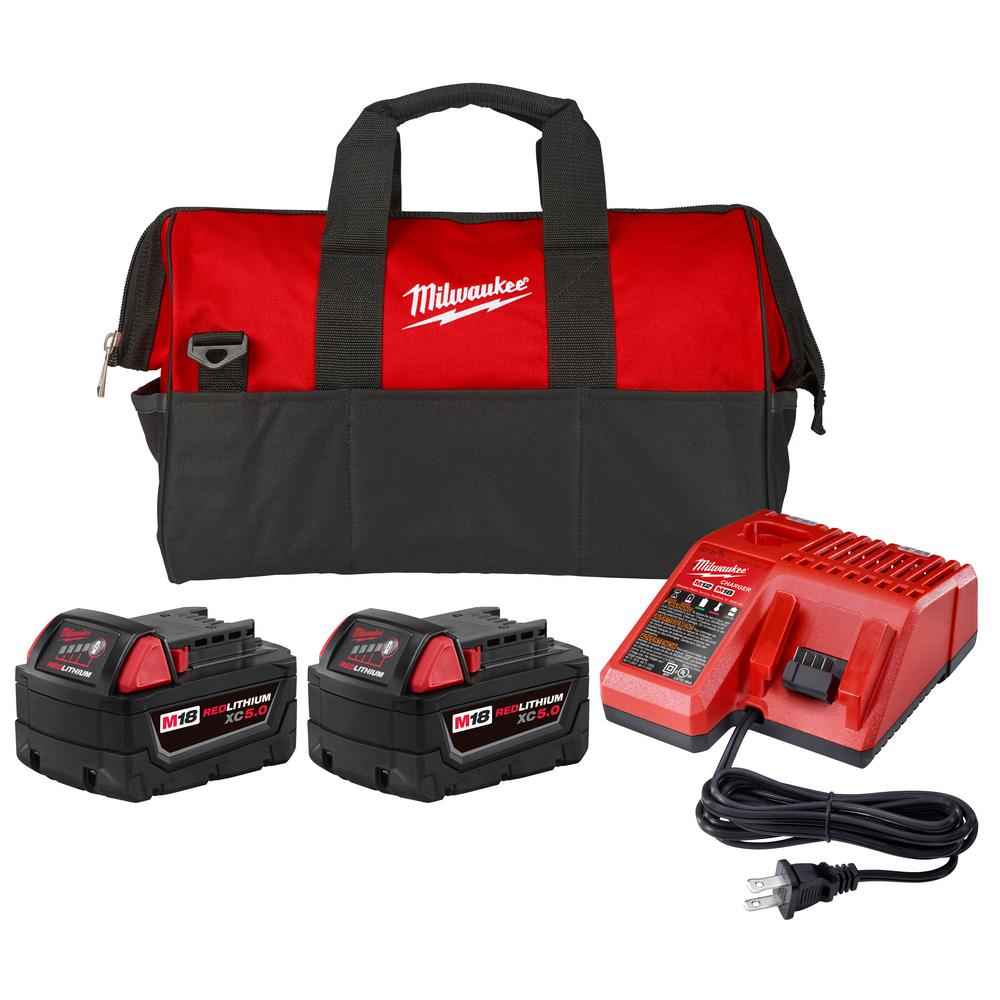 Milwaukee M18 18-Volt Lithium-Ion XC Starter Kit with (2) 5.0Ah Batteries, Charger & Contractor Bag