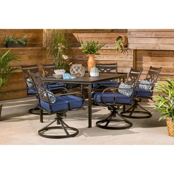Hanover Montclair 7 Piece Steel Outdoor Dining Set With Navy Blue Cushions Swivel Rockers And Dining Table Mclrdn7pcsqsw6 Nvy The Home Depot