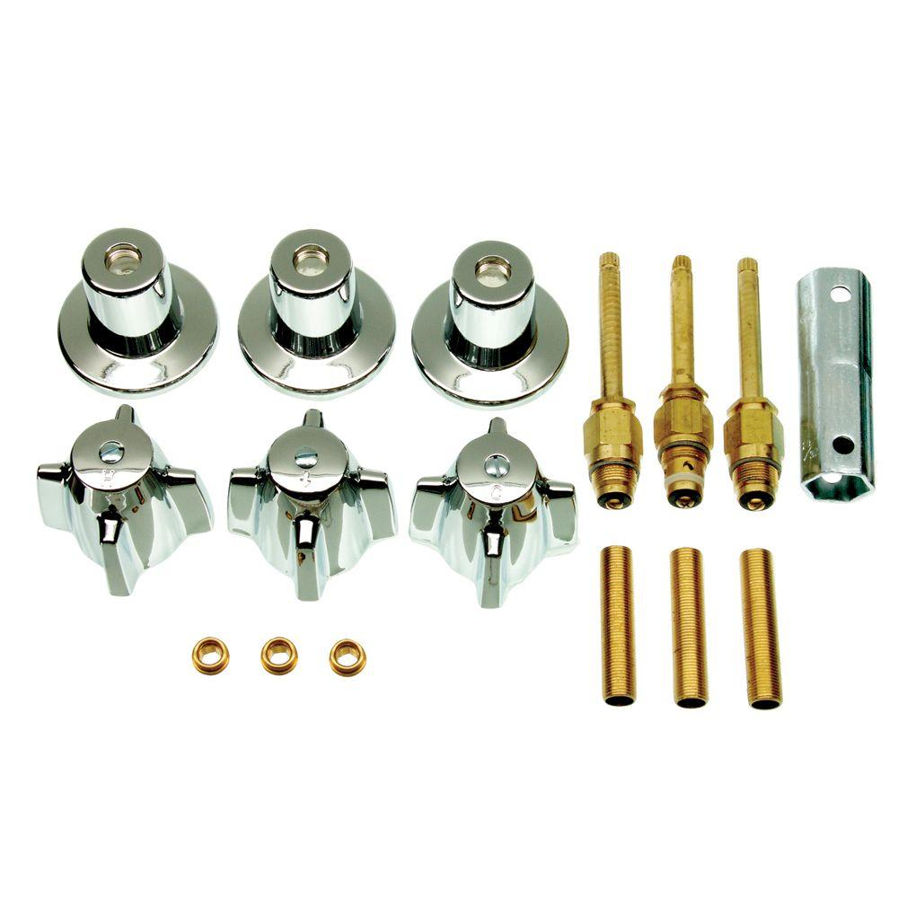 DANCO Central Brass 3-Handle Tub and Shower Faucet Trim Kit in ...