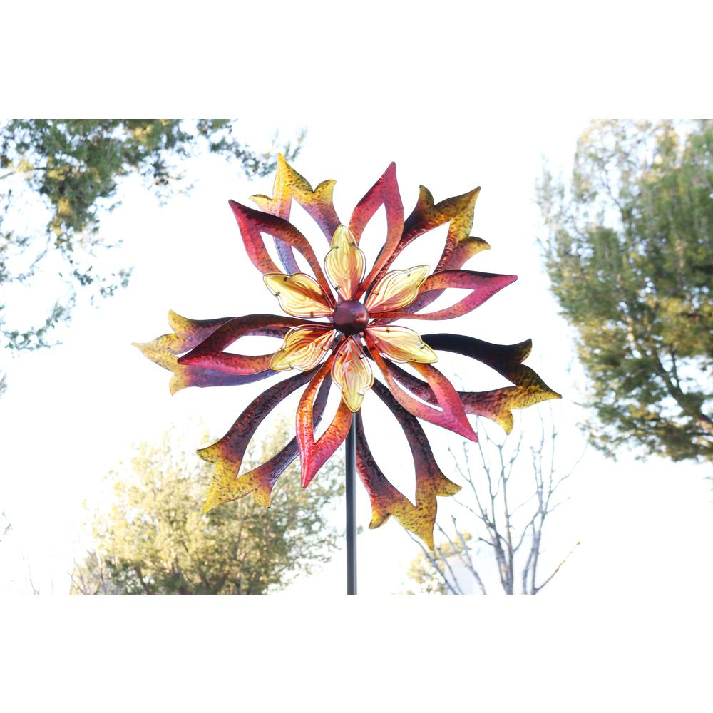 96 in. Metal Double-Sided Flame Spinning Garden Stake