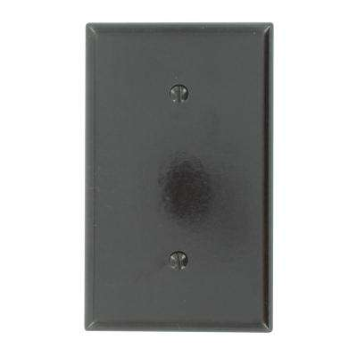1-Gang No Device Blank Wallplate, Standard Size, Thermoset, Strap Mount, Brown