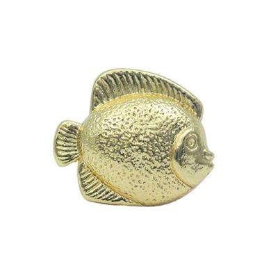 1-5/8 in. Polished Gold Fish Shaped Cabinet Hardware Knob