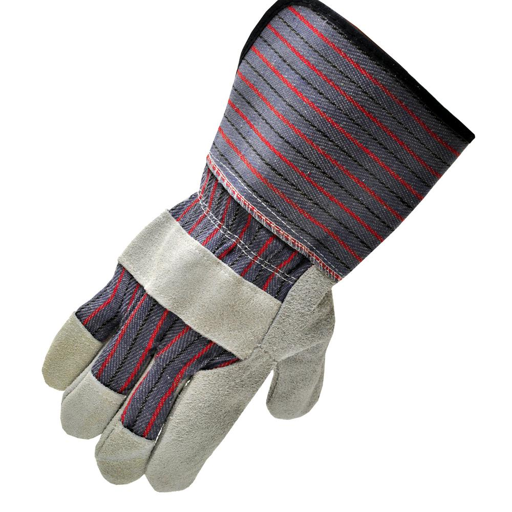 G & F Products Extra Long Cuff 4-1/2 in. Large Leather Palm Work Gloves