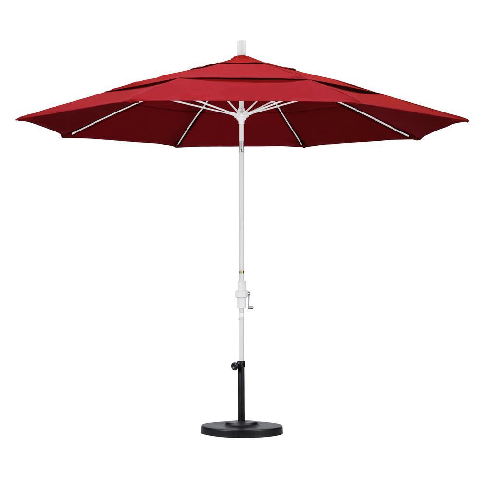 High Quality California Umbrella 11 Ft. Fiberglass Collar Tilt Double Vented Patio  Umbrella In Red Pacifica
