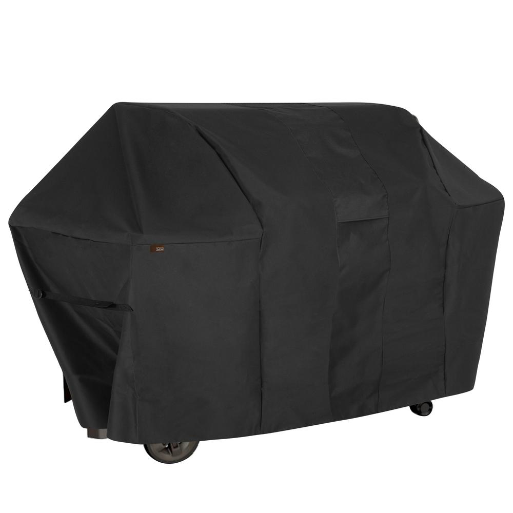 MODERN LEISURE Monterey Water Resistant 6-Burner Grill Cover, 73 in. W x 25 in. D x 44.5 in. H, Large, Black Grills are an investment and just like any investment, they need to be protected. Modern Leisure knows about that investment and has created a 6-Burner Propane Grill Cover to protect that investment. The 370 GSM heavy weight polyester material with PVC backing gives long life to this grill cover. The waterproof fabric with interior binding keeps your grill dry when mother nature is not so friendly. The black color hides soot and dirt and has excellent UV resistance. The built-in air vents allow both drafting to prevent your cover from blowing away and breathing to prevent mold and mildew.