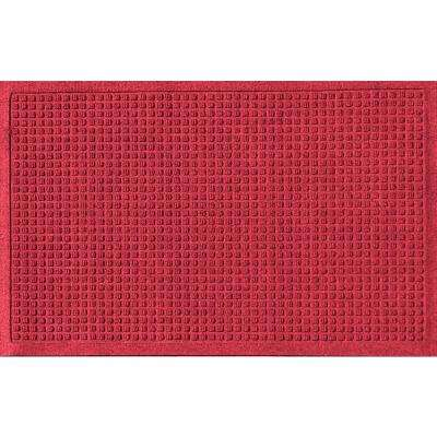 Red Black 24 in. x 36 in. Squares Polypropylene Door Mat
