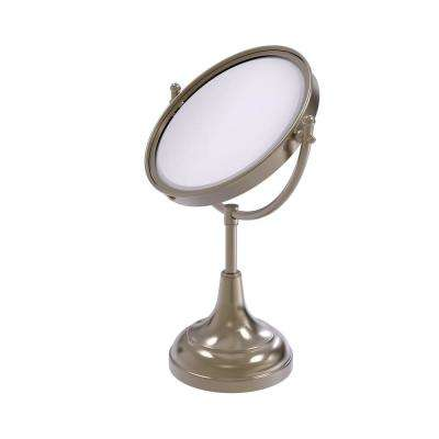 15 in. x 8 in. Vanity Top Makeup Mirror 4x Magnification in Antique Pewter