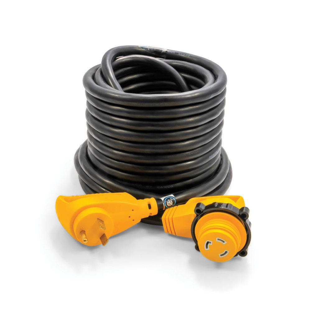 Camco 30 Amp Power Grip Extension Cord With 90m 90f Locking Adapter With 50 Ft 55525 The Home Depot