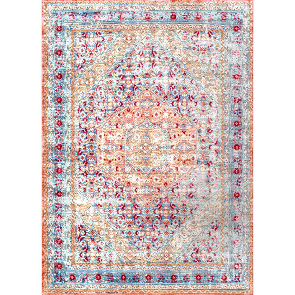 Nuloom Vintage Inspired Turquoise Overdyed Rug: NuLOOM Traditional Vintage Inspired Overdyed Floral Runner